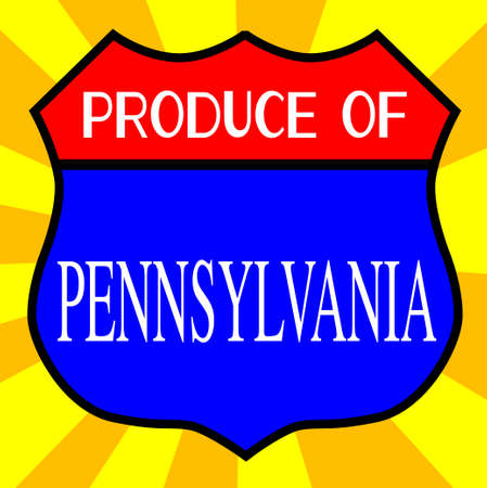produce: Route 66 style traffic sign with the legend Produce Of Pennsylvania