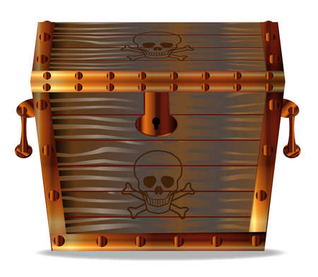 A closed wooden pirates treasure chest isolated over a white background Illustration