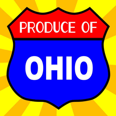 produce: Route 66 style traffic sign with the legend Produce Of Ohio Illustration