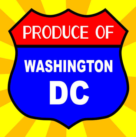 highway 6: Route 66 style traffic sign with the legend Produce Of Washington DC