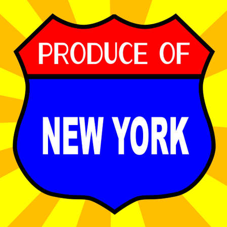 legend: Route 66 style traffic sign with the legend Produce Of New York Illustration