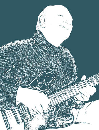 Old blues guitarist straining to play the notes Illustration