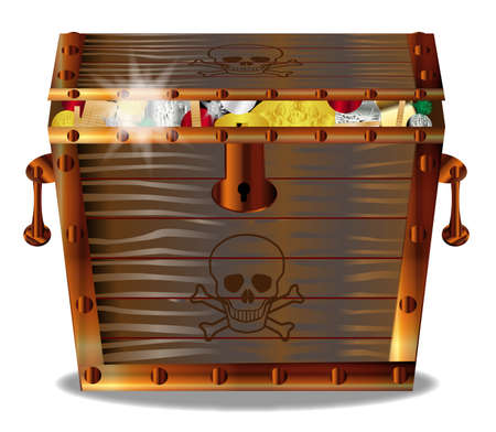 privateer: A full wooden pirates treasure chest isolated over a white background