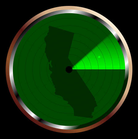 blip: The screen of a typical radar device in green sweeping over California