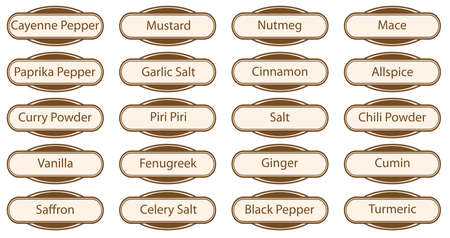 piri: A collection of Spice web buttons and labels isolated over a white background