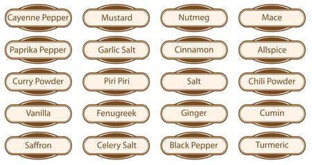 Una raccolta di pulsanti web Spice ed etichette isolato su uno sfondo bianco Vettoriali