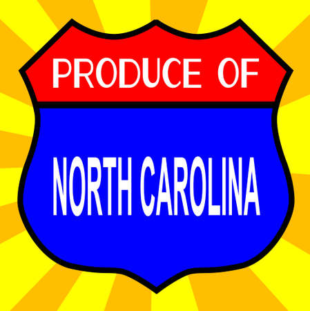 produce: Route 66 style traffic sign with the legend Produce Of North Carolina