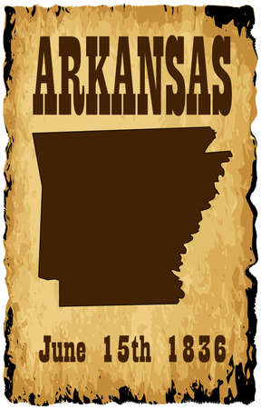 admission: A parchment background of browns shades and black over a white background with Arkansas Union admission date and silhouette map