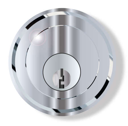 integral: A round front door knob with integral lock over a white background Illustration