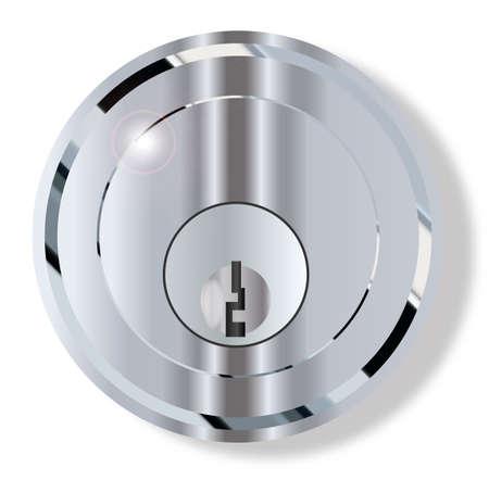Een ronde voordeur knop met geïntegreerde slot op een witte achtergrond