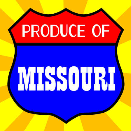produce: Route 66 style traffic sign with the legend Produce Of Missouri