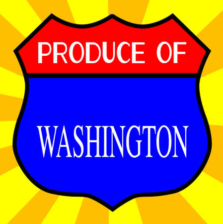 legend: Route 66 style traffic sign with the legend Produce Of Washington