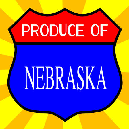 produce: Route 66 style traffic sign with the legend Produce Of Nebraska