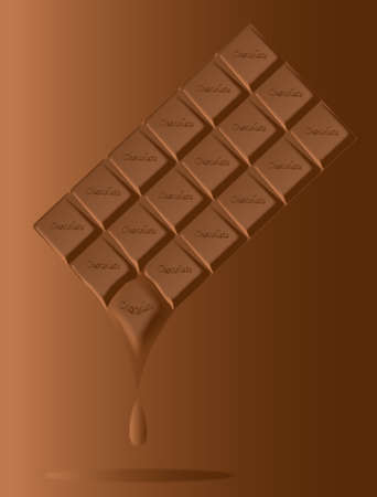 dripping chocolate: A typical bar of milk Chocolate maelting as a background Illustration