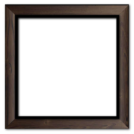 wood frame: A dark old oak wood picture frame over a white background Illustration