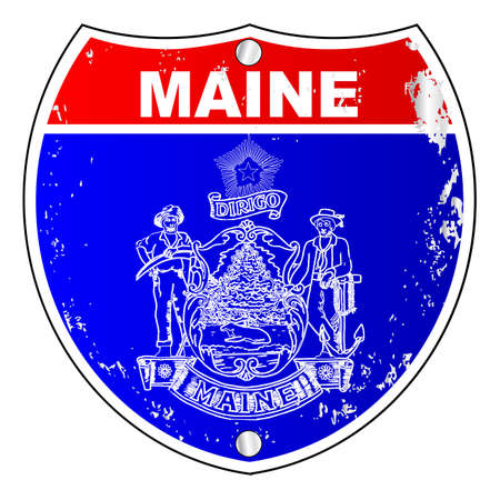 maine: Maine flag as an interstate sign over a white background Illustration