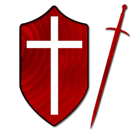 crusader: A typical wooden knights sword and shield with a white crusader cross