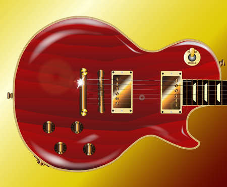 paul: A red grained electric guitar with gold metal fittings