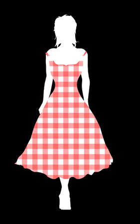 Girl silhouette walking out in a gingham dress