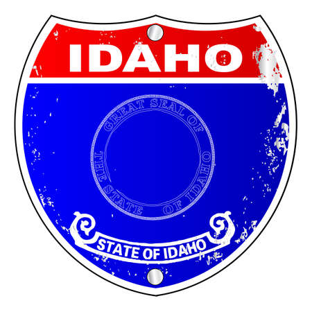 Idaho flag icons as an interstate sign over a white background