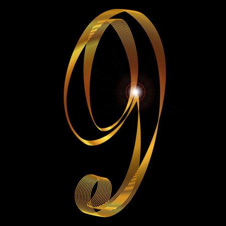 fine gold: The number nine depicted in fine gold thread over a black background