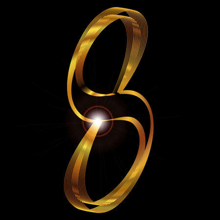 fine gold: The number eight depicted in fine gold thread over a black background