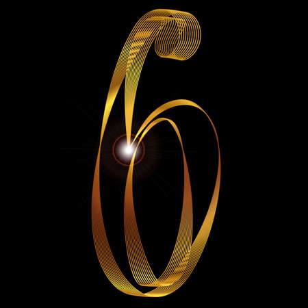 fine: The number six depicted in fine gold thread over a black background