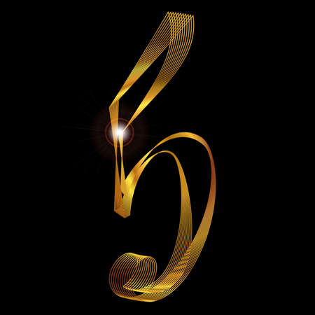 fine gold: The number five depicted in fine gold thread over a black background Illustration