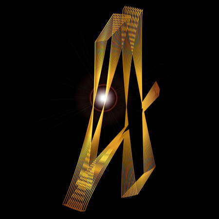 fine gold: The number four depicted in fine gold thread over a black background