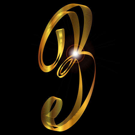 fine gold: The number three depicted in fine gold thread over a black background