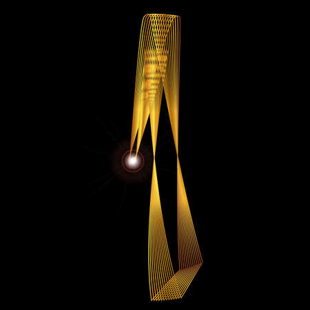 fine gold: The number one depicted in fine gold thread over a black background