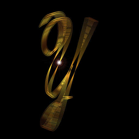 script: The letter Y in a gold thread script Illustration