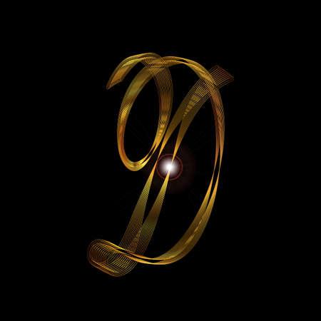 Der Buchstabe D in einem Goldfaden Skript