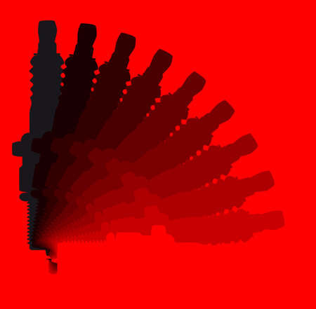 sparking plug: A sparking plug in silhouette roating from black to red over a red background Illustration