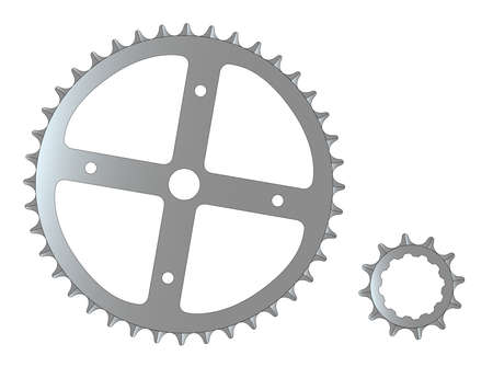 gearing: The front and rear gearing cogs of a typical bicycle.