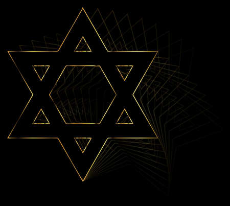 fade: Star of the Flag of Israel in gold with repeat and fade effect over a black background Illustration