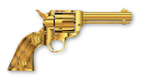 six shooter: A golden six gun isolated over a white background