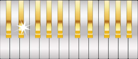 Silver and gold full size metal piano keys Illustration