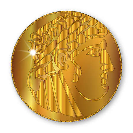 new testament: A single shekel gold coin as used in the Times of the Roman Empire over a white background