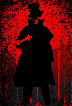 Jack the Ripper over a red grunge background Ilustração