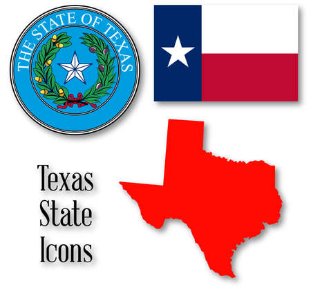 lone: The seal of the United Steas of American state TEXAS with silhouette map and flag isolated on a white background. Illustration