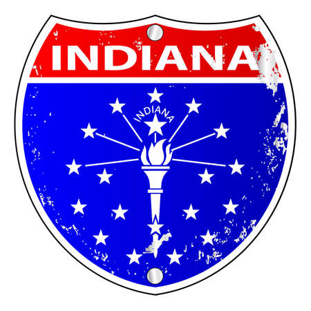 Indiana flag icons as an interstate sign over a white background Vetores