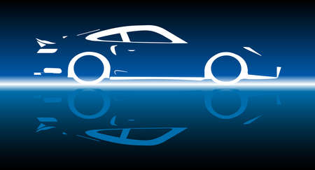 A fast car in silhoueyye and reflection over blue
