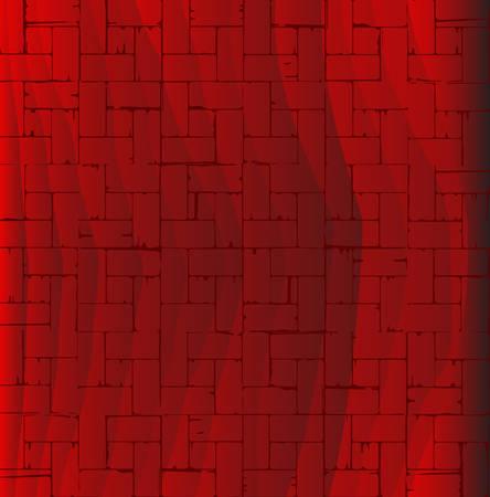 flooring: A wooden parquet flooring patternin red as a background.