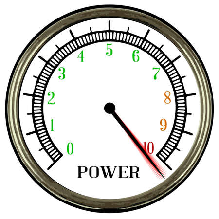 power meter: A round style power meter isolated on a white background Illustration