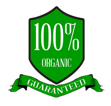 gm: A green organic guarenteed sticker over a white background with white text