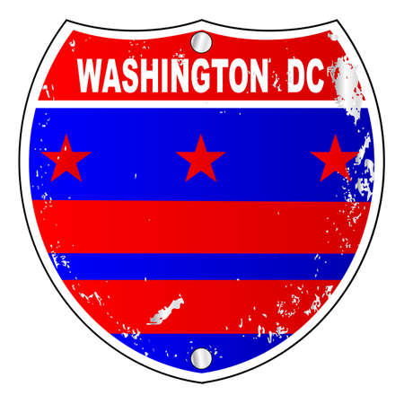 dc: Washington DC flag icons as an interstate sign over a white background