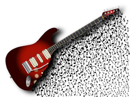 solid color: A sunburst color solid body electric guitar with abstract musical effect isolated over a white background