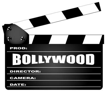A typical movie clapperboard with the legend BOLLYWOOD isolated on white.