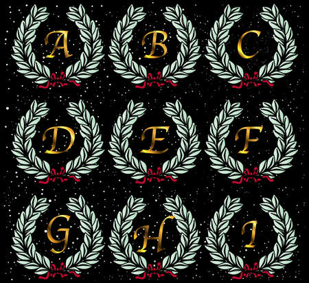 star spangled: A  wreath with letters of the alphabet set on a star spangled background background